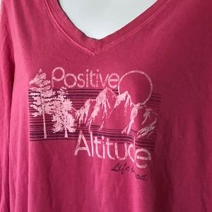 Life is Good XL Positive Altitude T-Shirt Pink Top